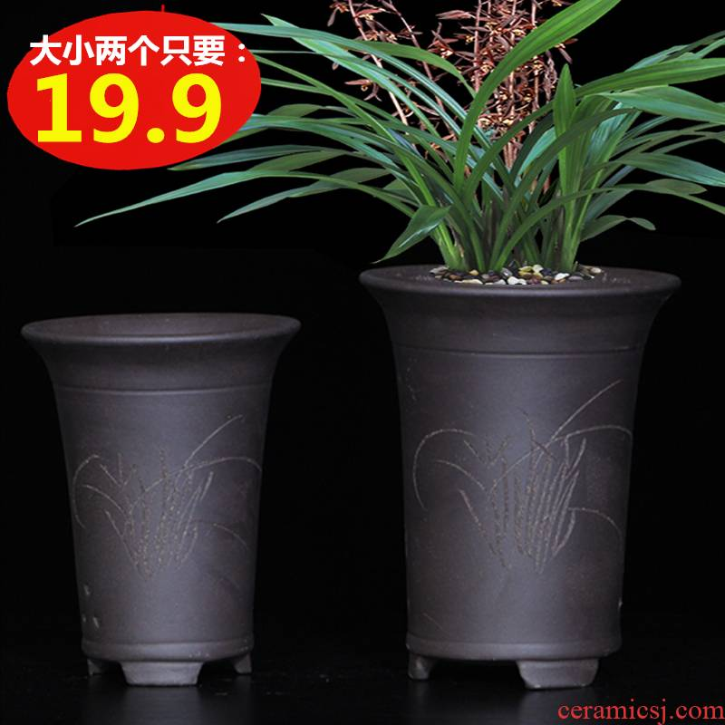 Yixing special purple sand flowerpot up phnom penh short basin orchid orchid clivia flower pot household clearance package of mail
