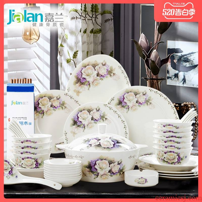 Garland dishes suit of rural household of Chinese style is pure and fresh and 28/56 head suit ipads porcelain tableware wedding gift