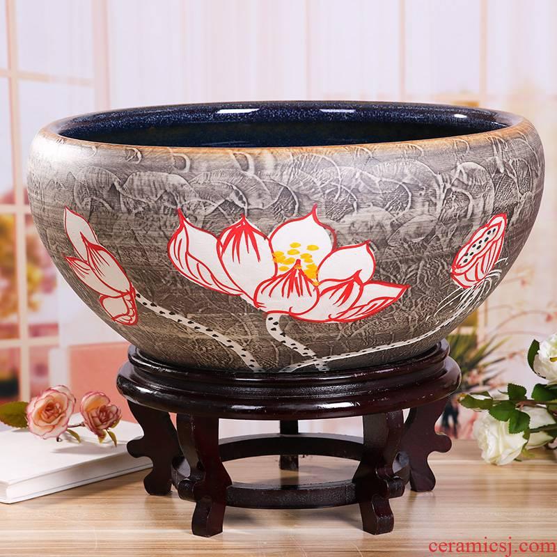 Jingdezhen ceramic turtle cylinder tank a goldfish bowl water lily basin large porcelain bowl lotus sitting room hydroponic porcelain jar