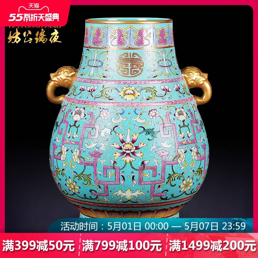 Jingdezhen ceramics vase furnishing articles grilled green flowers double listen barrels of the sitting room of Chinese style household decorative arts and crafts