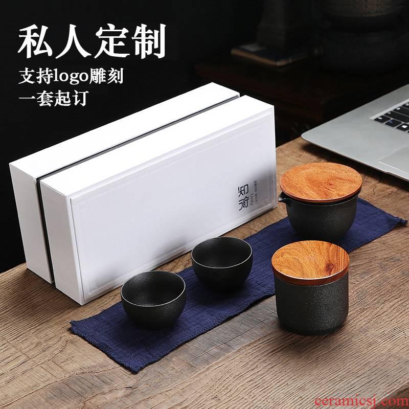 Ceramic crack cup tea set a second pot two POTS portable contracted Japanese tea custom logo