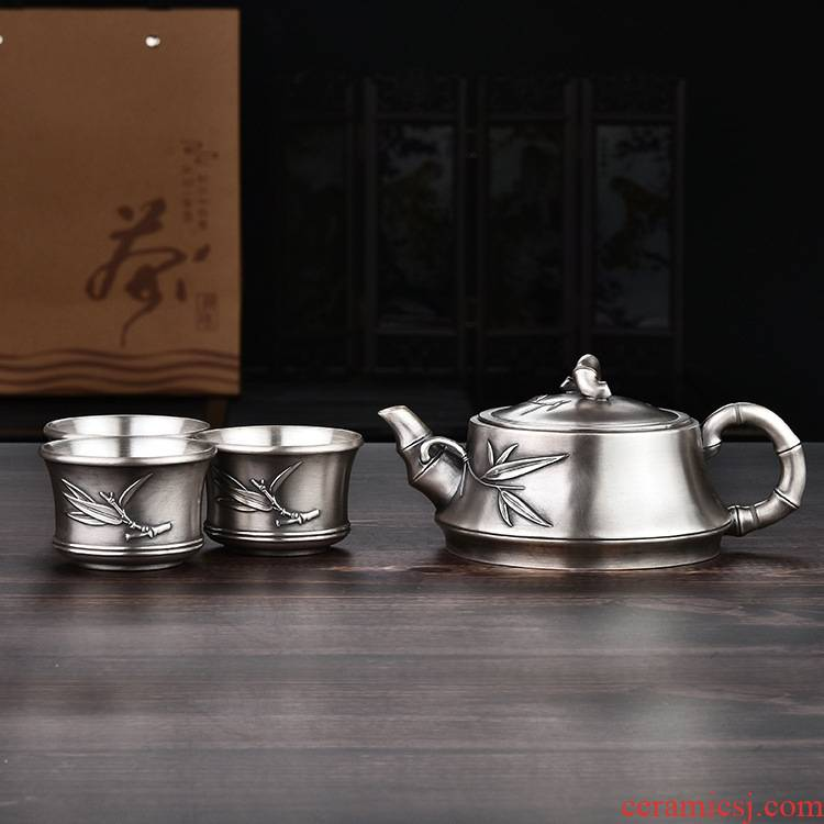 Xu ink fine silver 999 sterling silver, kung fu tea set had a silver teapot teacup bamboo tea gift box