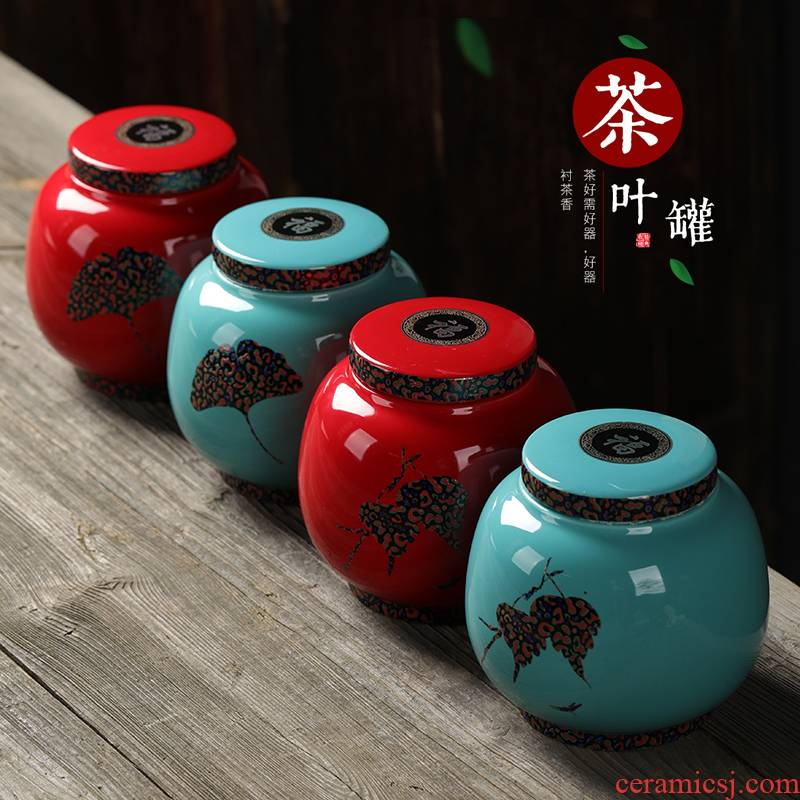Chinese red porcelain tea pot seal pot seal caddy fixings tea box seal storage pot tea POTS
