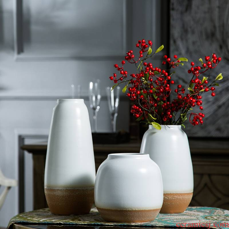 I and contracted ceramic flower arranging hydroponic vase continental sitting room white dried flowers, Nordic home furnishing articles