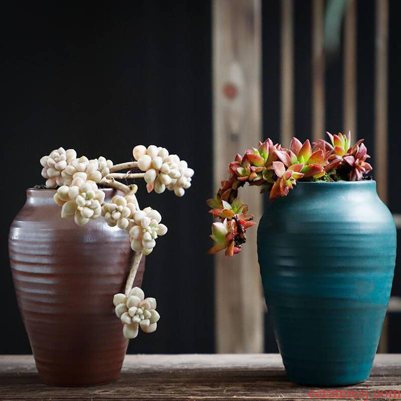 Fleshy flowerpot ceramic package mail special offer a clearance coarse pottery breathable retro creative large old running the flesh POTS of the plants