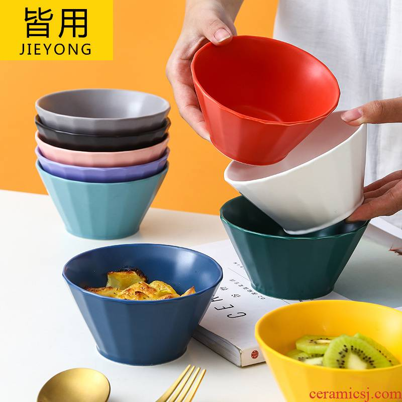 High level appearance rice bowls ceramic household character rainbow such as bowl, lovely porringer creative fruit salad bowl bowl dessert bowls