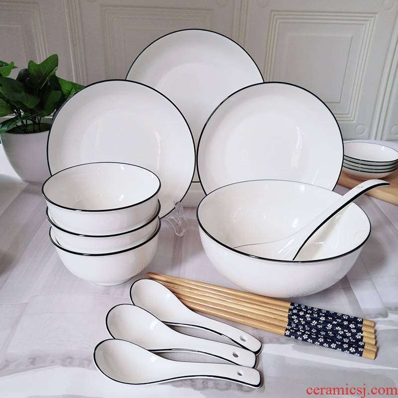 Northern dishes one household combination tableware dishes sets 4 ceramic bowl chopsticks 3 single dishes suit rainbow such use