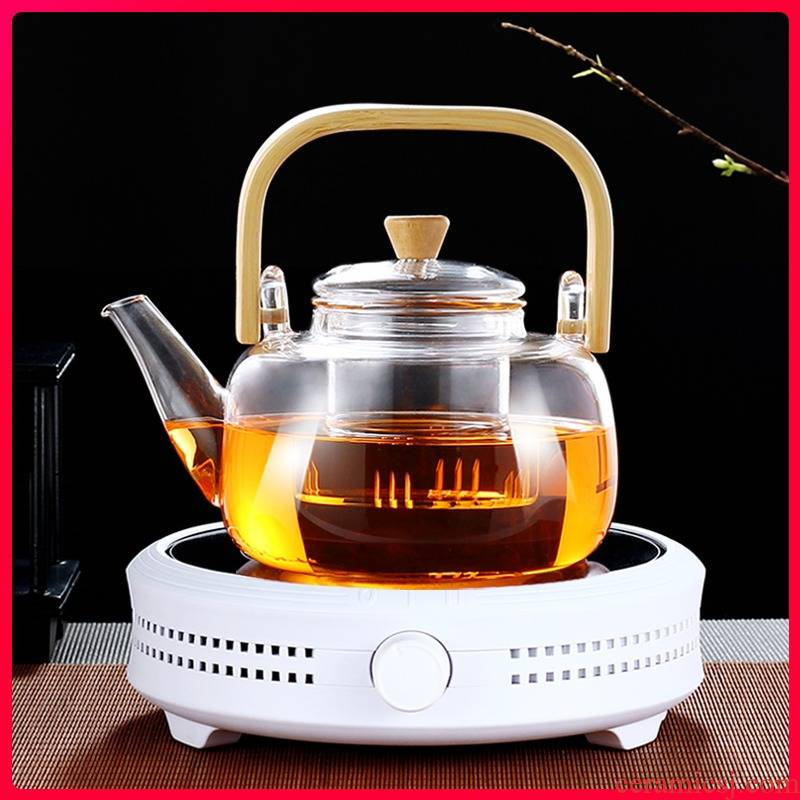 Bamboo boil girder glass teapot kettle household filter teapot high - temperature tea set the boiled tea, the electric TaoLu