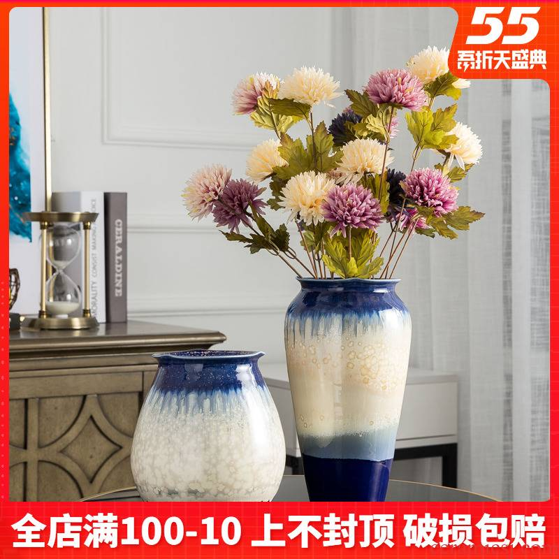 European ceramic small vase hydroponic contracted creative furnishing articles of dry blue flowers planted jingdezhen sitting room
