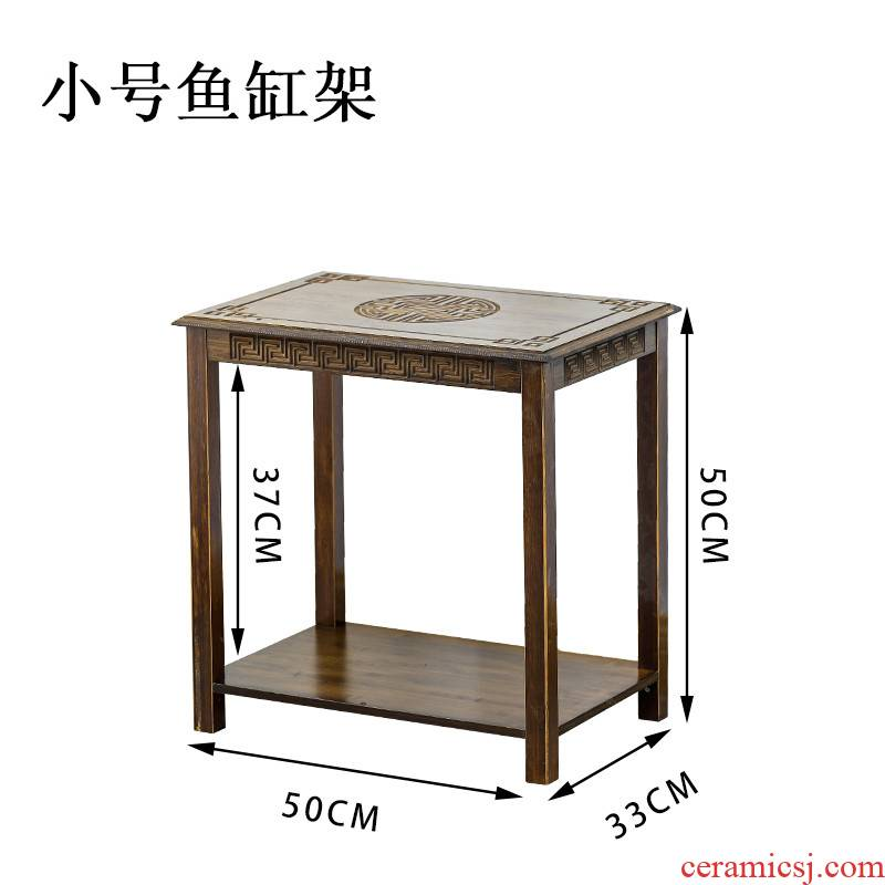 Tank bottom ark, bamboo Tank base shelf household small simple multi - layer composite solid wood aquarium Tank can multiplex