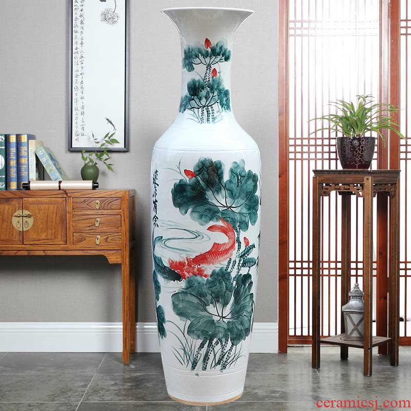 Jingdezhen ceramic floor big vase hand - made of blue and white in successive years wining the lotus villa hotel opening decorative furnishing articles