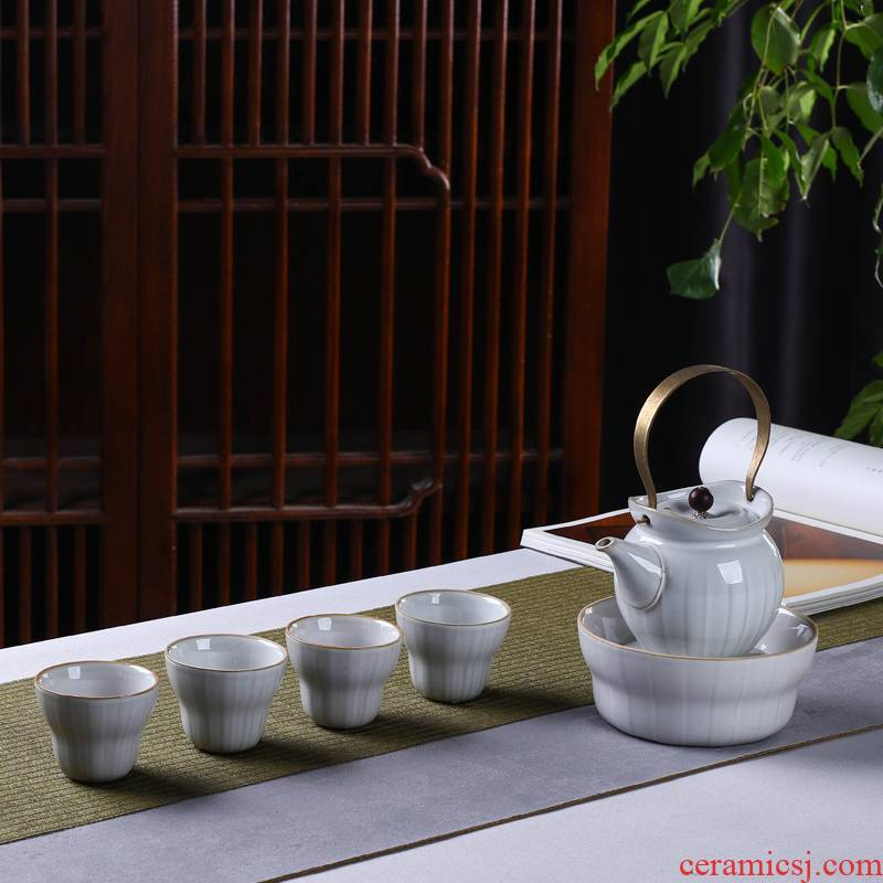 Ancient Japanese see colour ceramic tea set suits for domestic copper girder cold tea kettle take home the teapot