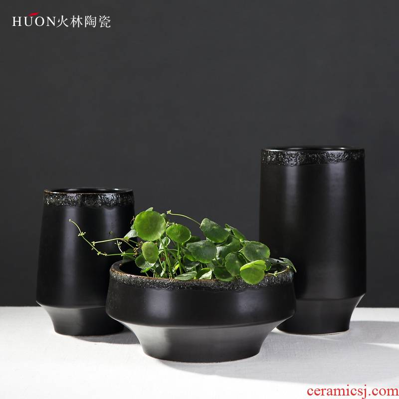 The Jet Chinese wind restoring ancient ways ceramic vase of modern new Chinese style wood house sitting room zen place adorn article