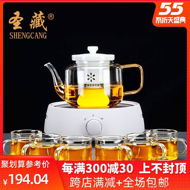 38 opens to booking a Pyrex suit tea kettle the boiled tea, the electric TaoLu thickening high - capacity steamed tea cups Z
