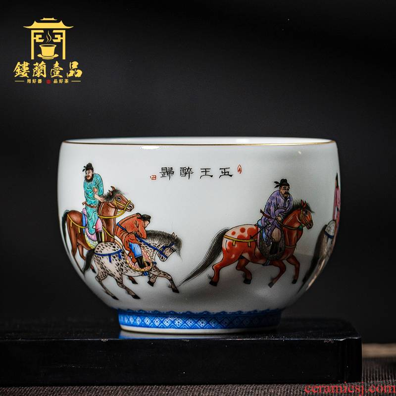 Jingdezhen ceramic cup to master all hand pastel five Kings hand - made kung fu tea set single cup tea bowl of tea cups