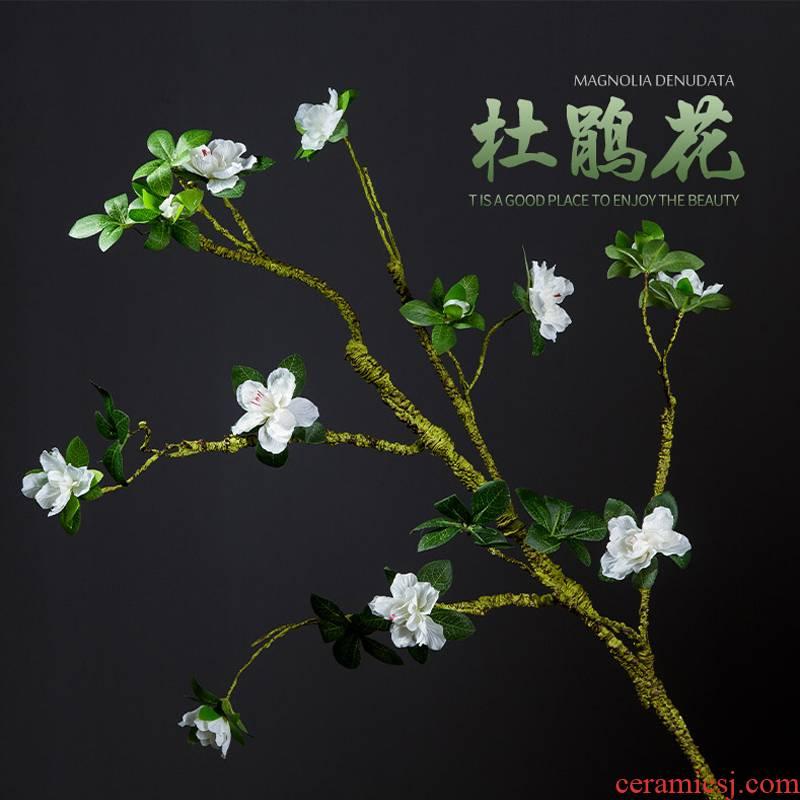 Simulation modelling of azalea flowers, silk flower branches home decoration Chinese zen ceramic vases, flower art