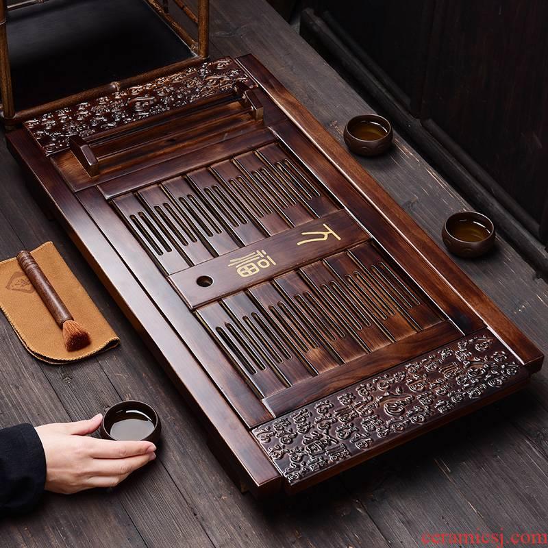Tao good solid wood tea set tea tray tea set household kung fu tea sea water drainage with double tea bamboo tea tray