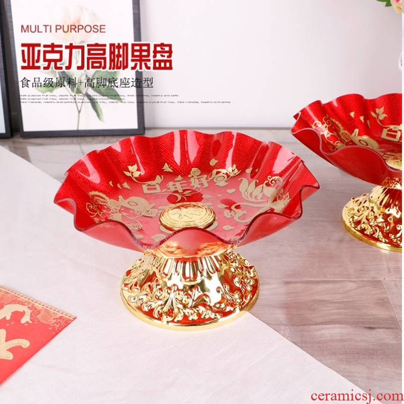High fruit bowl acrylic red golden wedding base plate for disc plate for Buddha sitting room plastic plate