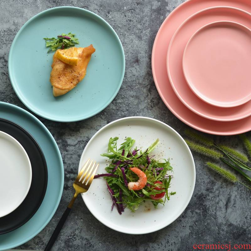 Ceramic matte enrolled color pasta salad 0, lovely home the steak plate of Japanese pizza restaurant disc plate
