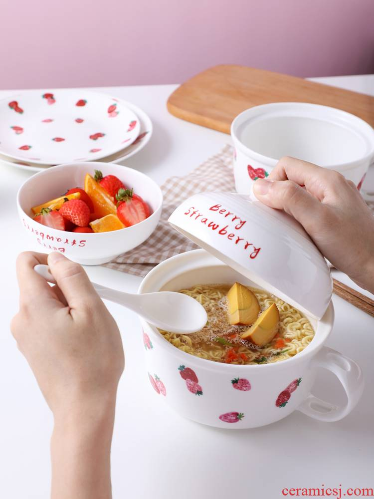 Lovely strawberry mercifully rainbow such as bowl with cover girl wind heat preservation tableware bowls of a single mercifully rainbow such use ceramic the student 's dormitory