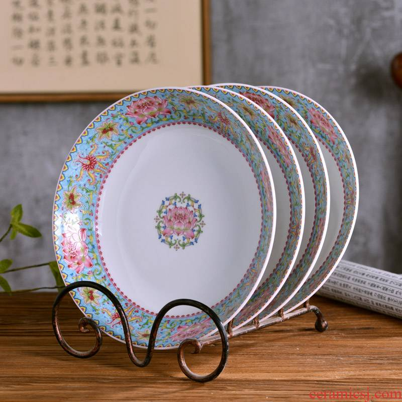 8 inches deep ipads porcelain dish dish jingdezhen Chinese style household ipads porcelain dish of rice soup plate archaize cutlery tray