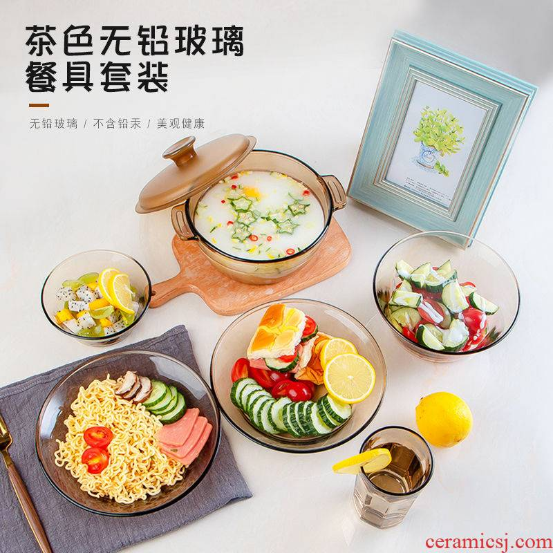 Household more heat - resistant glass bowl dishes in clay pot rice bowls move tan small European - style combination salad bowl set