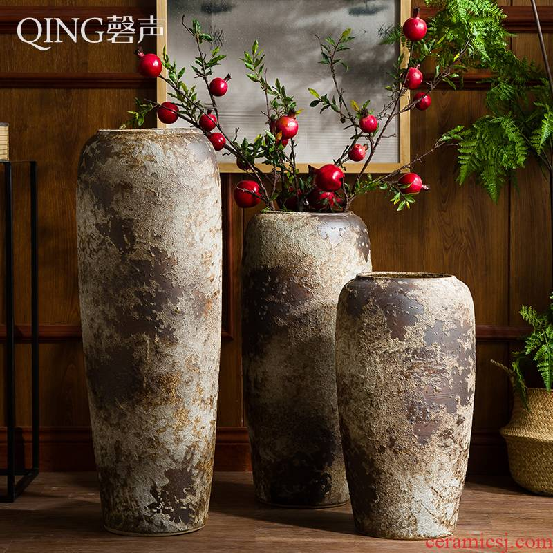 Ceramic furnishing articles of large vases, Chinese style restoring ancient ways is dried flower arranging flowers coarse pottery sitting room hotel villa pottery decoration