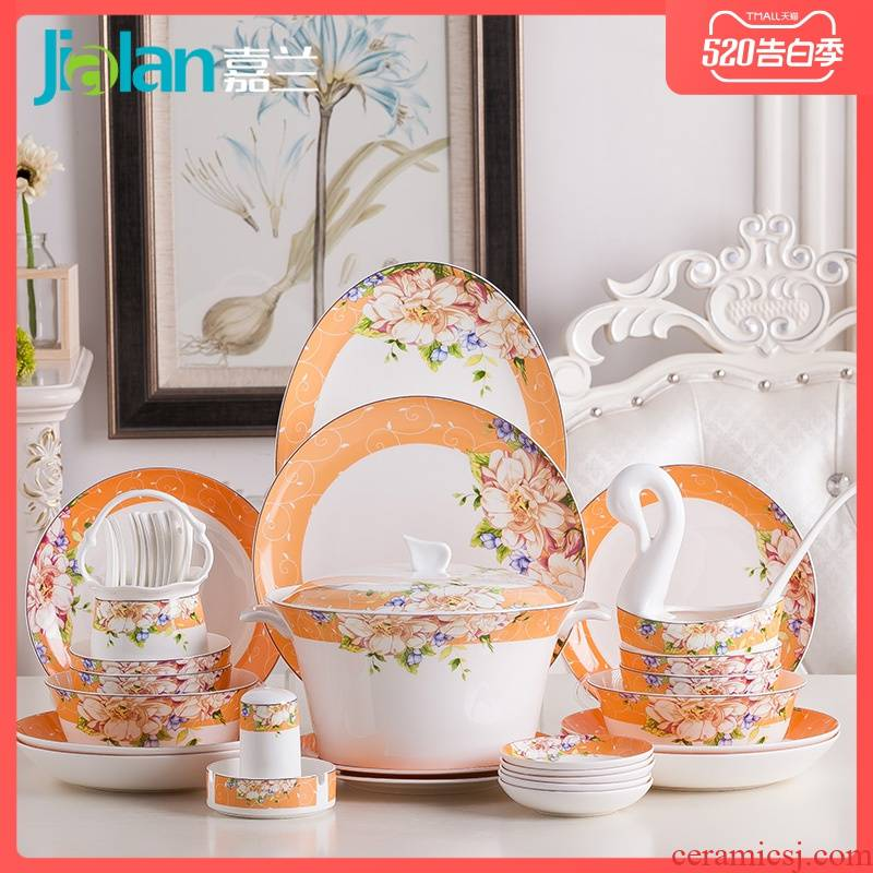 Garland ipads porcelain tableware suit creative and fresh type of household ceramic plate portfolio eat bowl chopsticks dish sets