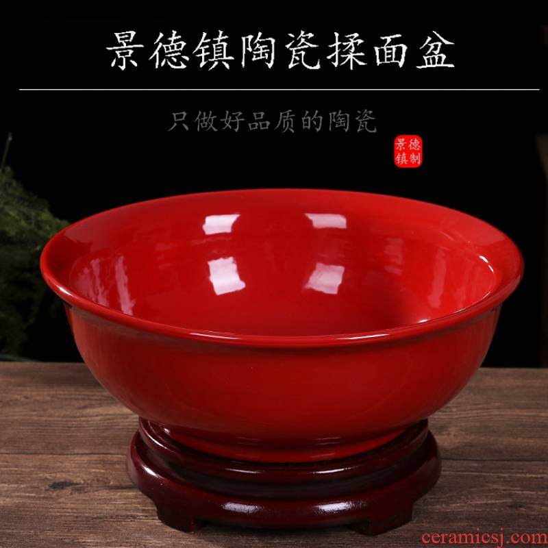 Jingdezhen ceramic and knead basin basin home with cover large hair thickening basin basin bowl of boiled fish dishes
