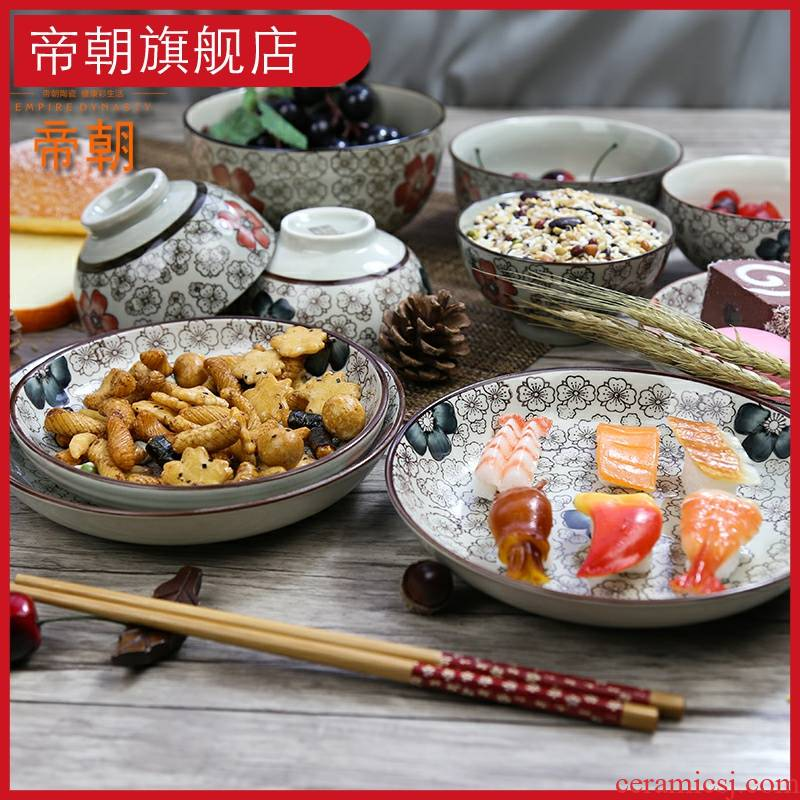 Emperor the hand - made ceramic tableware Japanese dishes dish bowl suit combination home dishes suit eating the food in the kitchen