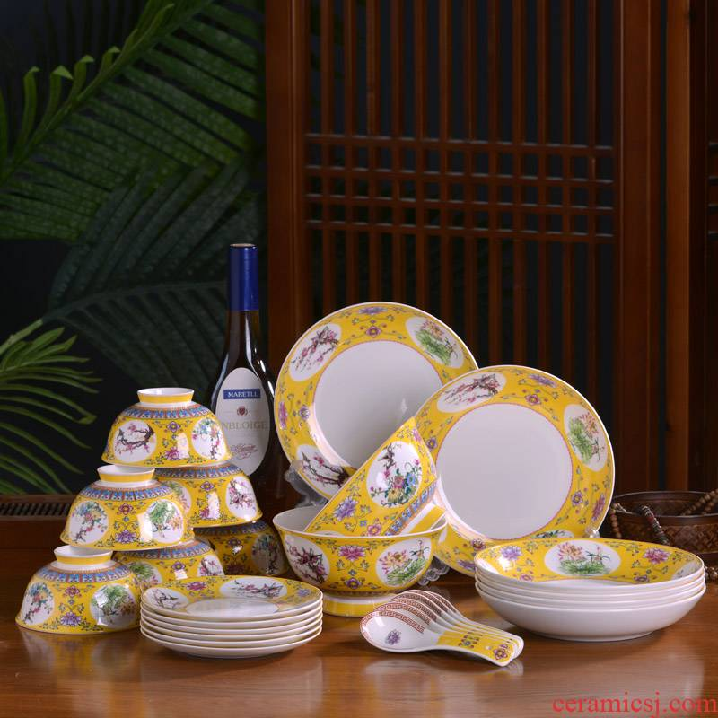 Jingdezhen ceramic bowl dish dish teaspoons of cutlery set combination of Chinese style household ipads porcelain bowl dish dish bowl of archaize of ipads plate