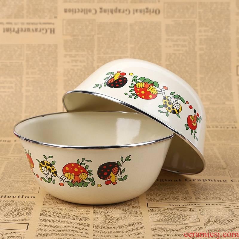 Chinese circular enamel mixing bowl household enamel xiancai basins 20 cm round enamel enamel POTS DiaoXian bowl