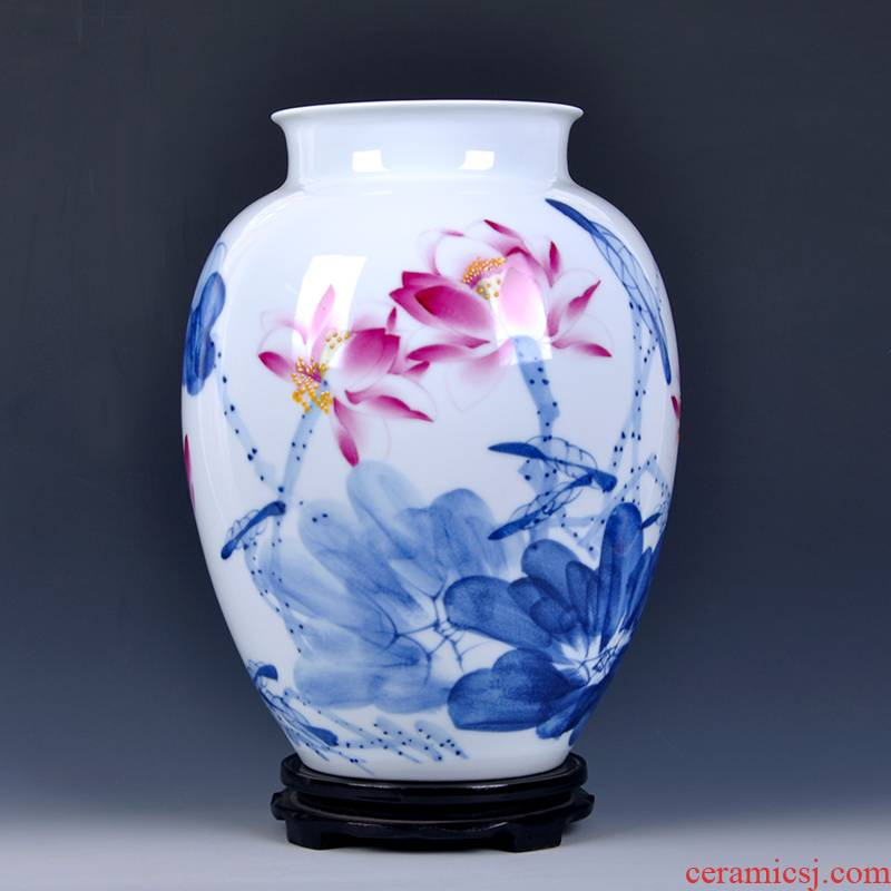 Jingdezhen ceramics bucket hand - made vases, new Chinese style household, sitting room adornment see lotus flower arrangement of TV ark, furnishing articles