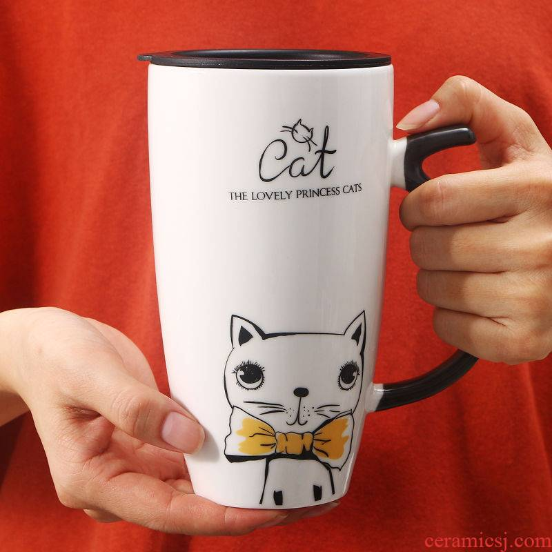 Contracted cat mark cup big volume ceramic cup, lovely breakfast cup home office with cover run water cup