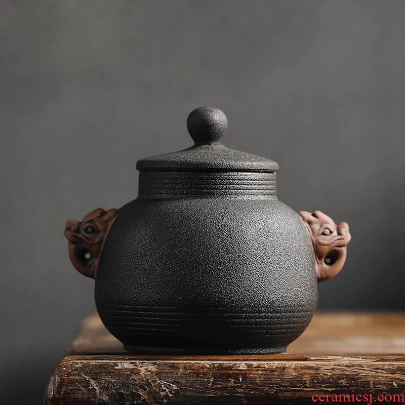 Ssangyong Dan furnace coarse pottery tea pot small retro black tea tea pot moisture storage tanks tins