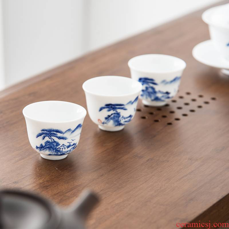 The high time ceramic kunfu tea cups of jade porcelain white porcelain landscape master cup sample tea cup single cup tea bowl