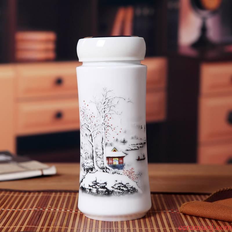 Forest fire creative jingdezhen ceramics keep - a warm glass insulation cup double CPU gift office cup DongMei