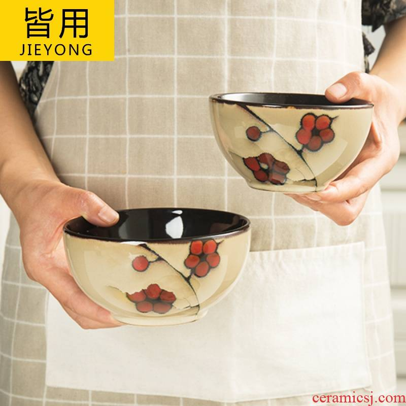 Name Plum flower dishes ceramic tableware creative Chinese style household jobs rainbow such as bowl soup bowl dish dish soup plate plates