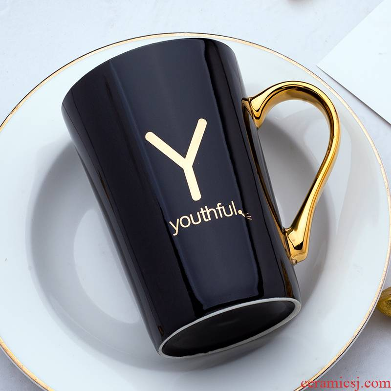 Nordic letters ceramic cups with cover spoon move creative trend mark cup men 's and women' s household glass coffee cup
