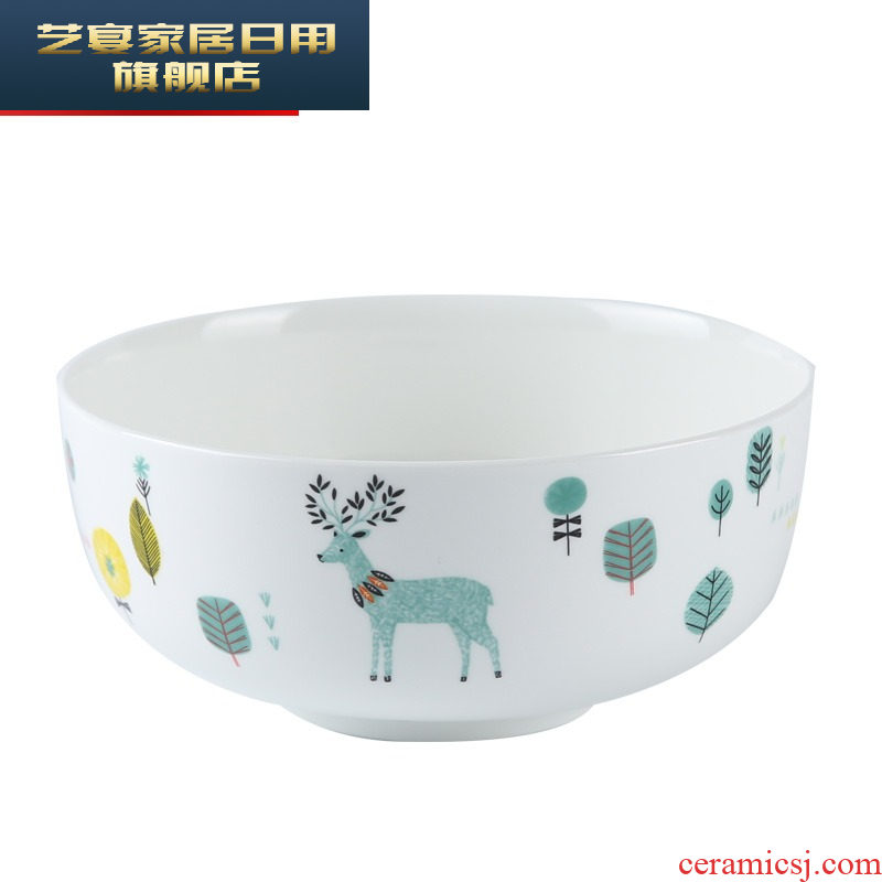 5 ymro ceramic creative rainbow such as bowl bowl pull domestic cartoon bowl bowl large ipads porcelain tableware 7.5 inch soup bowl