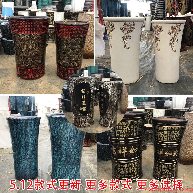 Stiletto type ceramic flower pot large high money tree rich tree inside and outside sitting room ground flowerpot special package mail