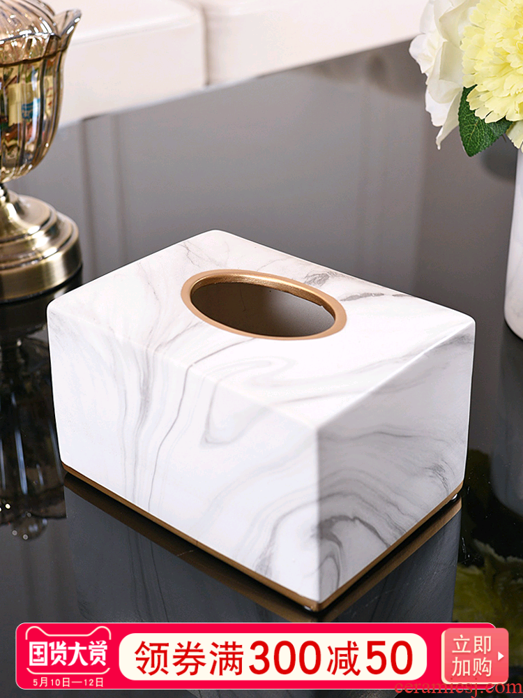 Modern light much wind marble ceramic pump carton household Nordic ins sitting room dining - room use napkin tissue box