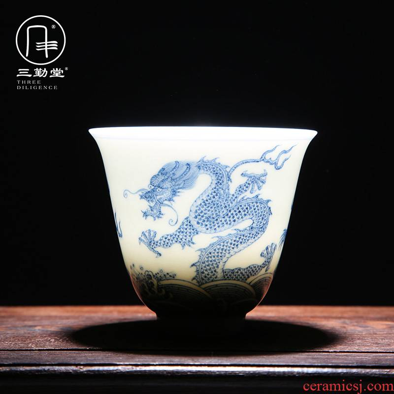 The three regular blue and white porcelain teacup kongfu master cup single CPU jingdezhen ceramic hand - made sample tea cup S43083