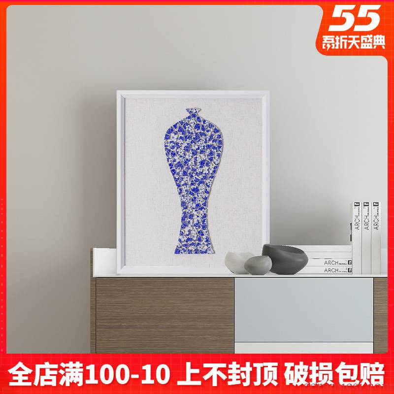 New Chinese style adornment blue and white porcelain pieces of sitting room background wall painting study teahouse zen ceramic porcelain plate painting hangs a picture