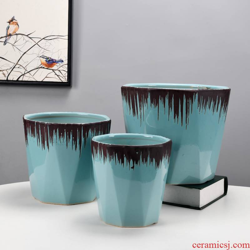Anise flow glaze ceramic flower pot extra large wholesale contracted breathable sitting room balcony landing tiger money plant flower pot