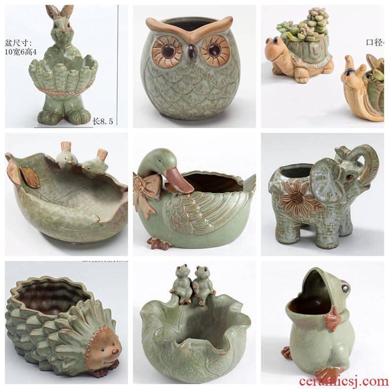 The bird frog rabbit owl duck yard creativity gardening meat flowerpot furnishing articles ceramic yellow duck 's fortune