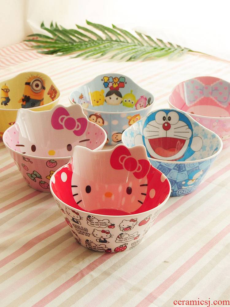 Bo view cartoon imitation porcelain rice bowls bowl green baby bowl head form melamine melamine tableware children can drop