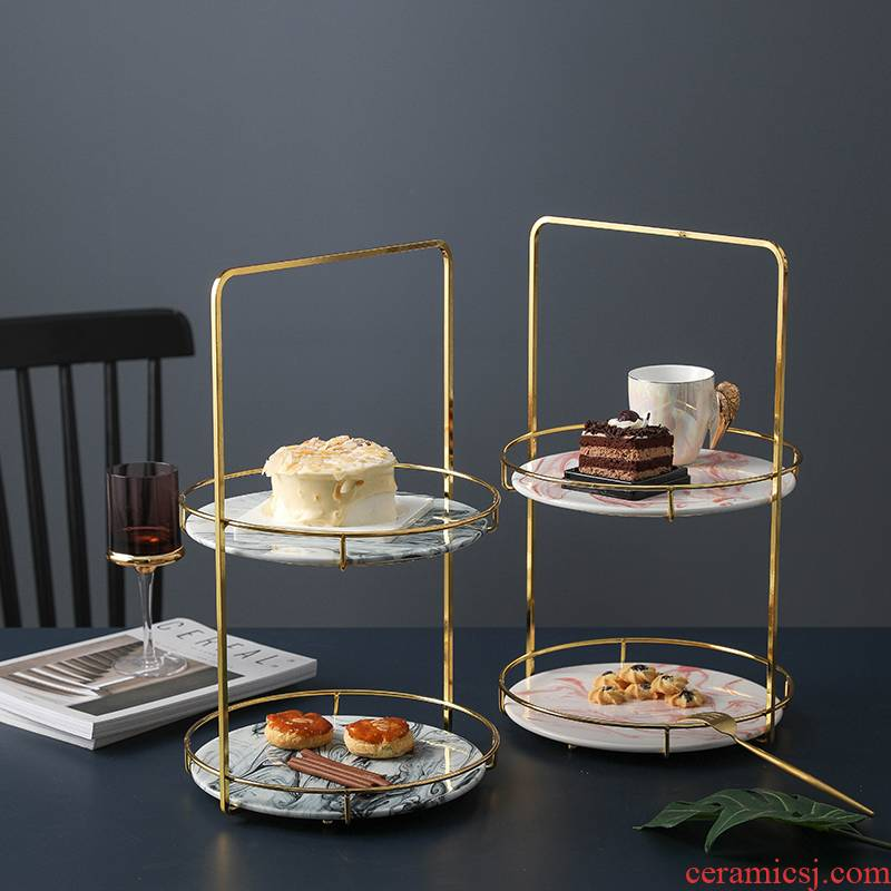 Northern wind creative gold - plated, wrought iron ceramic double cake, fruit basin shelf afternoon tea fruit dessert plates
