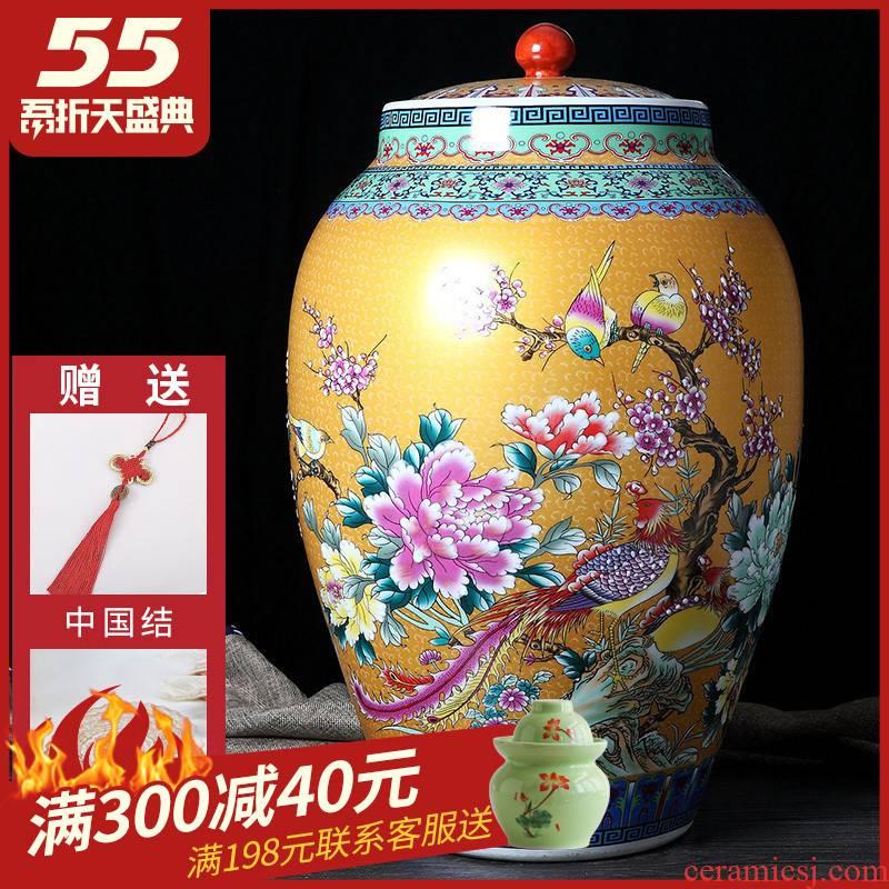 Jingdezhen ceramic barrel ricer box 30 to 50 kg pack household moistureproof cylinder cylinder tank storage jar of pickles with cover