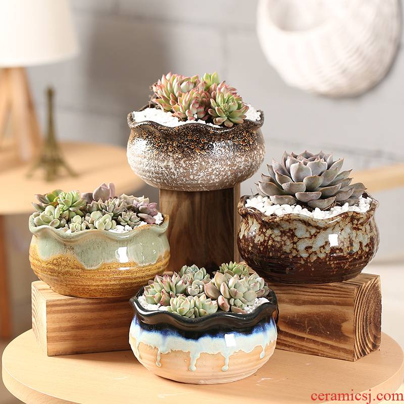 End fleshy flower POTS, large diameter ceramic platter composite basin simple indoor coarse pottery new large meat meat
